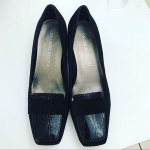 Franco Sarto Chunky Heel Loafers Black Leather